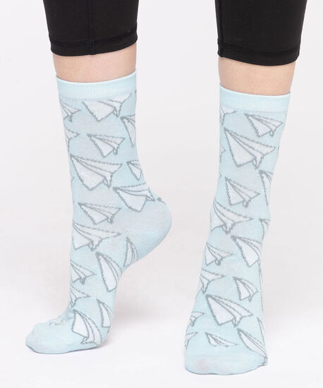 Paper Airplane Crew Socks, Light Blue/White, hi-res