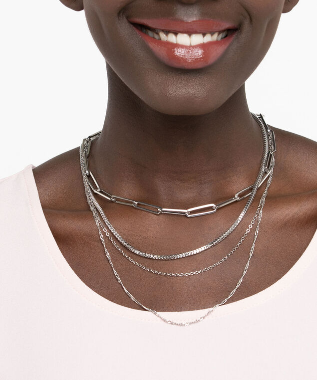 Multi Row Linked Chain Necklace, Rhodium, hi-res