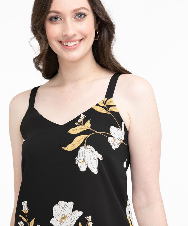 Strappy Double Layer Sleeveless Blouse, Black Floral