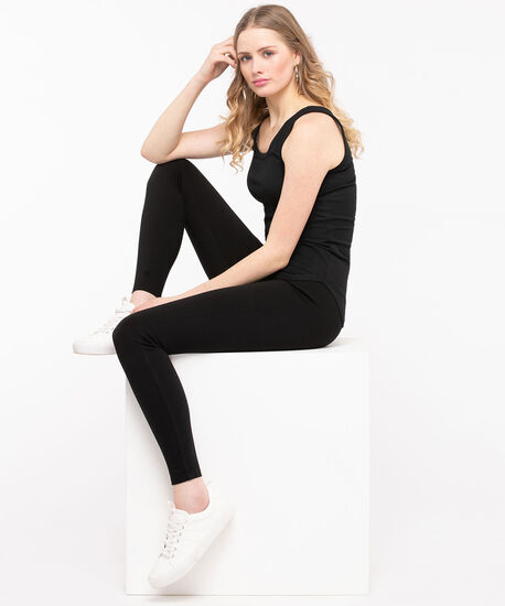 Scoop Neck Tank Top, Black, hi-res
