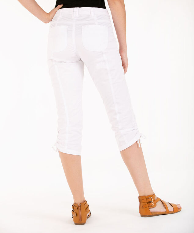 Poplin Ruched Capri, White, hi-res