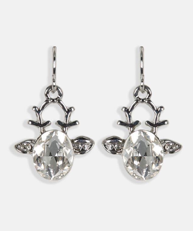 Crystal Reindeer Earring, Rhodium, hi-res