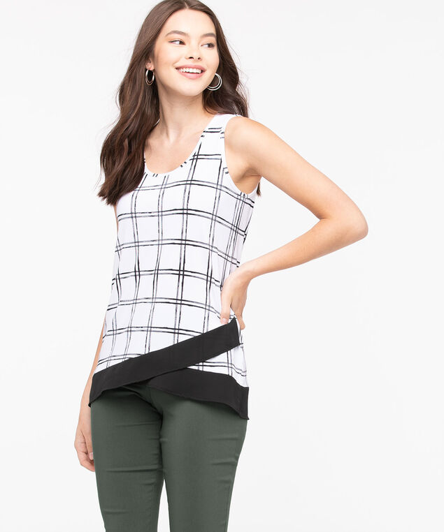 Sleeveless Chiffon Trim Top, Black/Pearl, hi-res