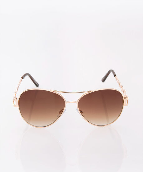 Gold Metal Aviator Sunglasses, Brown/Gold, hi-res