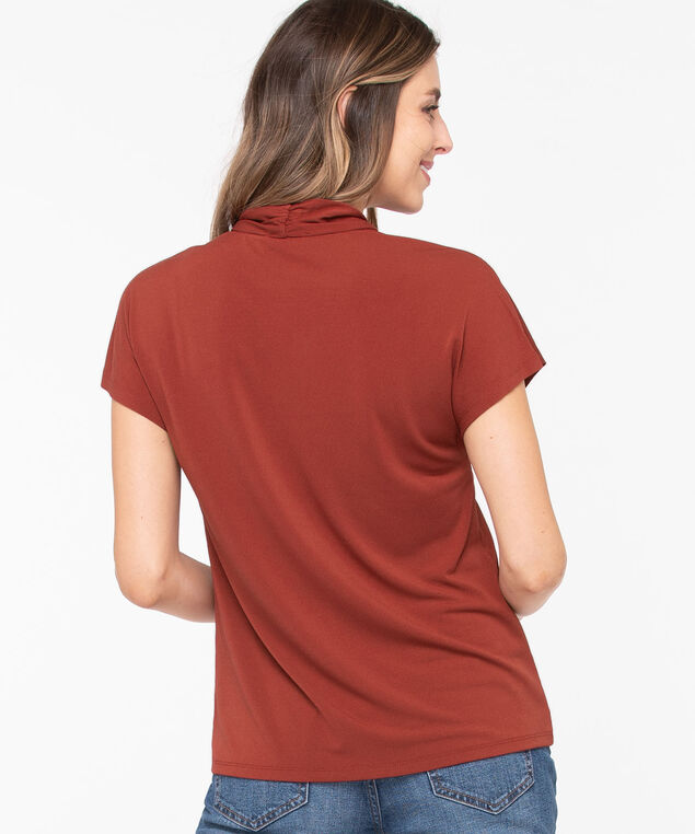 V-Neck Extended Sleeve Top, Rust, hi-res