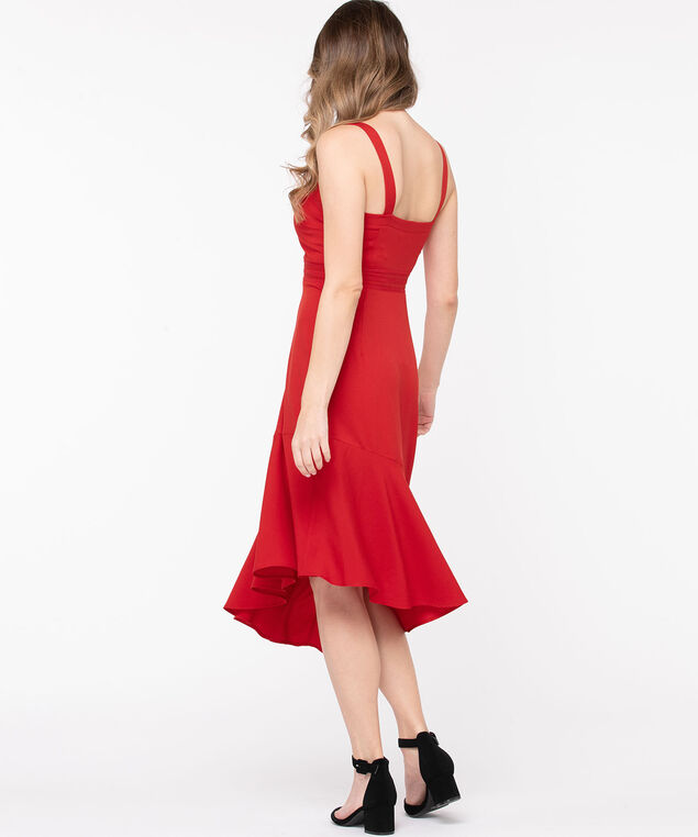Asymmetric Hem Midi Dress, Red, hi-res