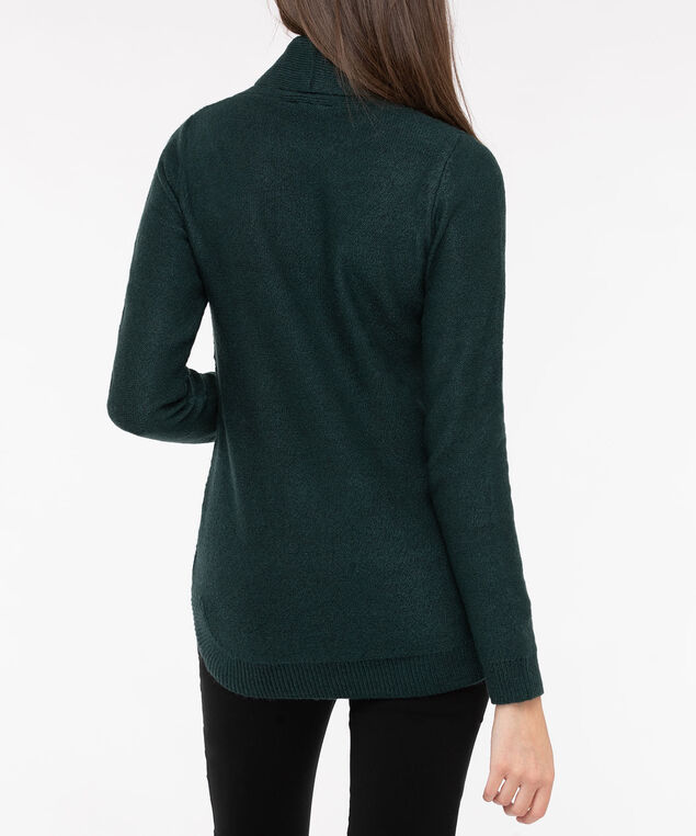 Rounded Hem Cowl Neck Sweater, Deep Green, hi-res