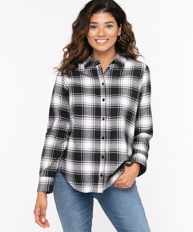 Plaid Cotton Flannel Blouse, Black/Pink Peacock/Pearl, hi-res
