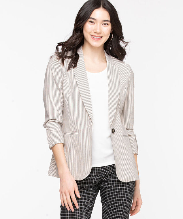 Stripe Single Button Blazer, Sand/Summer Navy