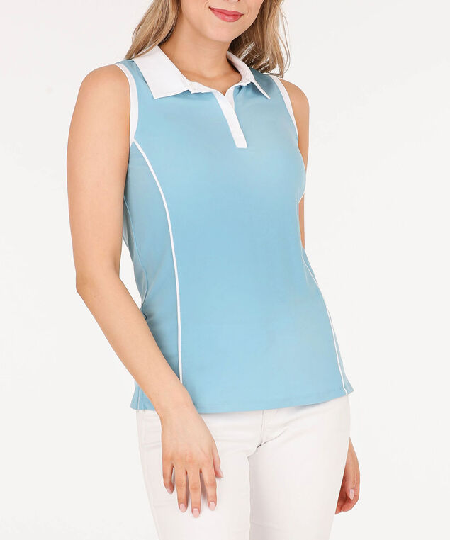 Sleeveless Collared Golf Shirt, Blue/White, hi-res