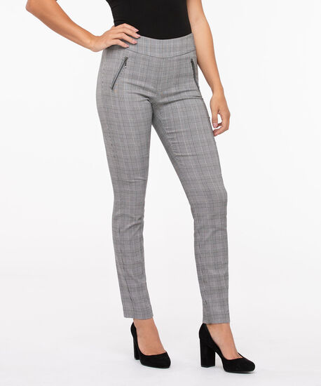 Plaid Jacquard Slim Leg, Black/Pearl, hi-res