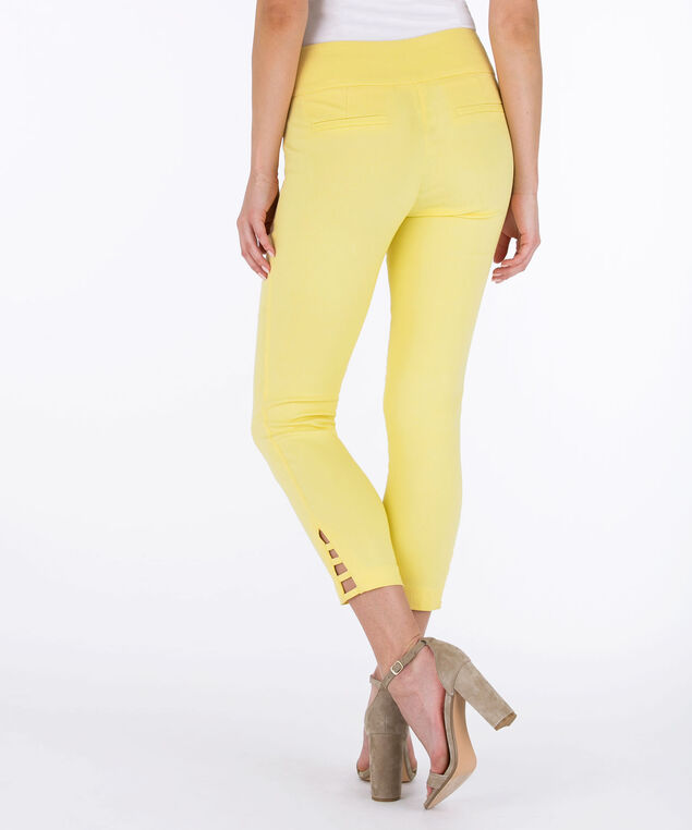 Ladder-Trim Microtwill Crop Pant, Soft Yellow, hi-res