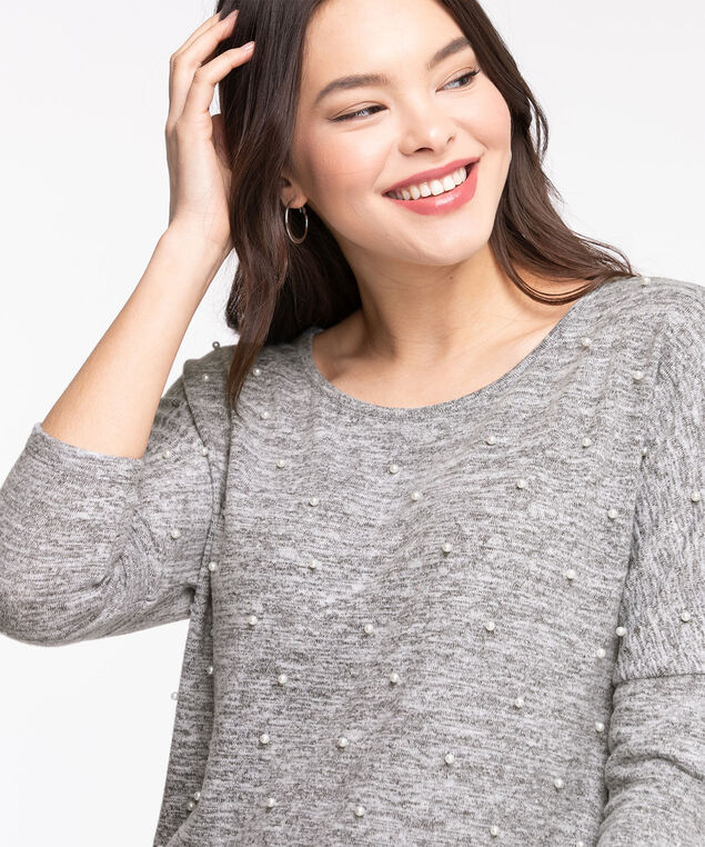 Pearl Embellished Dolman Sleeve Top, Grey Mix
