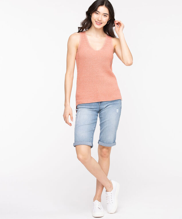 V-Neck Sweater Tank, Rosette