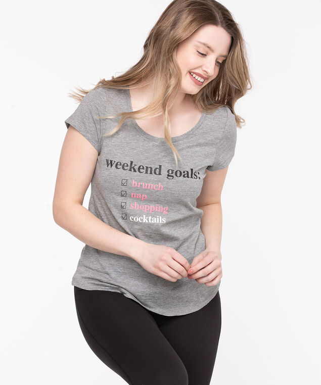Scoop Neck Shirttail Graphic Tee, Light Grey/Weekend Goals
