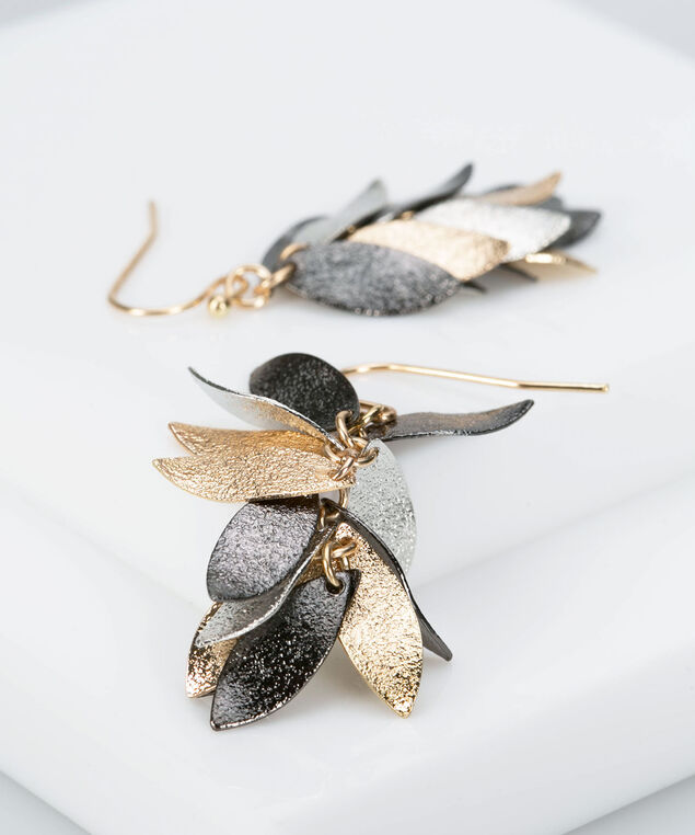 Metal Leaf Cluster Earring, Rhodium/Gold/Slate, hi-res