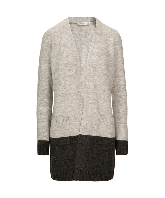 Plush Wide Striped Open Cardigan, Grey/Charcoal, hi-res