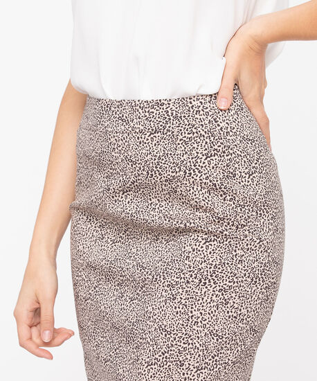 Animal Print Pull on Pencil Skirt, Sand/Black, hi-res