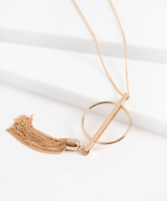 Long Geo Pendant Tassel Necklace, Gold