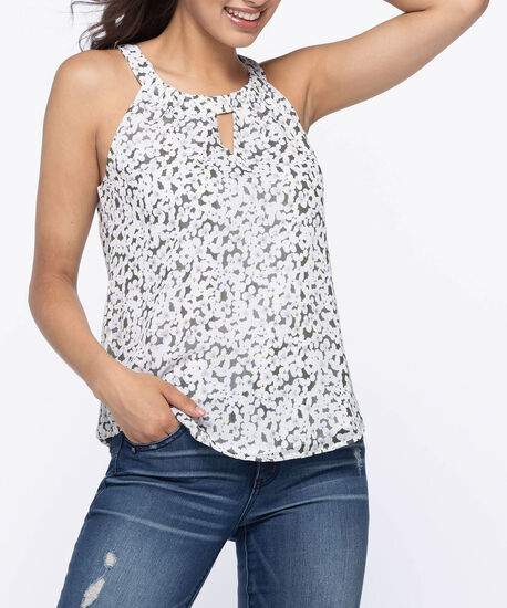 Keyhole Halter-Style Blouse, Yellow/White/Grey, hi-res