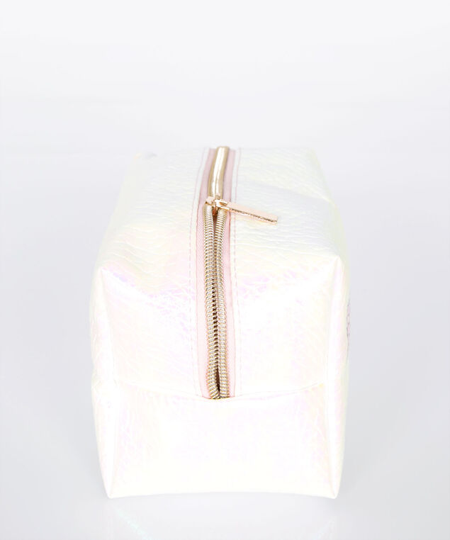 Beauty Irridescent Costmetic Pouch, Pastel Pink/Gold, hi-res
