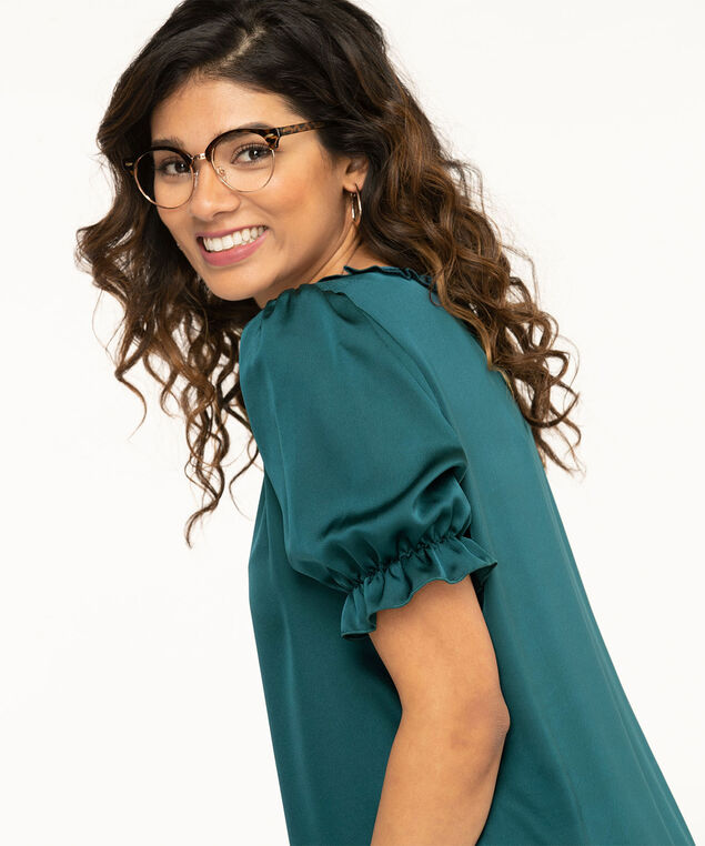 Puff Sleeve Popover Satin Blouse, Reef Waters