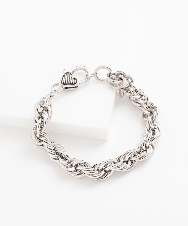 Rope Chain Heart Clasp Bracelet, Silver