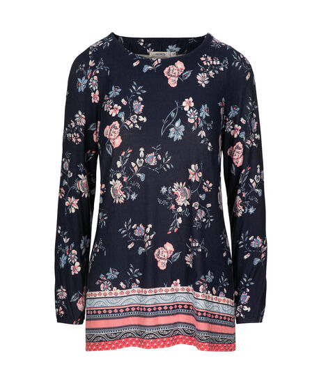 Long Sleeve Border Print Top, Deep Sapphire/Coral, hi-res