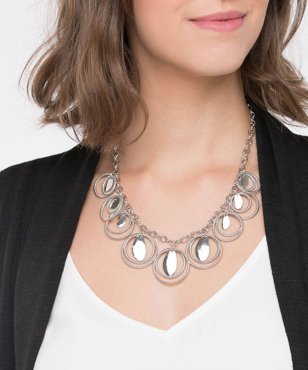 Textured Ring Statement Necklace, Rhodium, hi-res