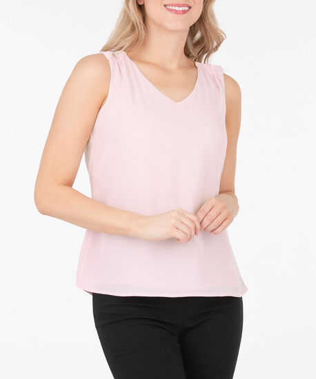 Sleeveless V-Neck Ruffle Trim Blouse, Cameo Pink, hi-res