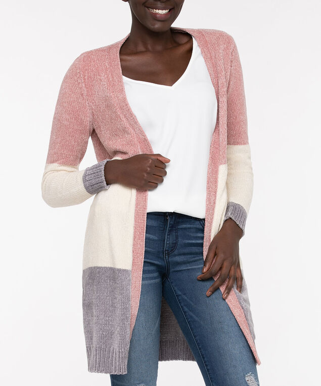 Colourblock Chenille Open Cardigan, Dusty Blush/Almond/Grey, hi-res