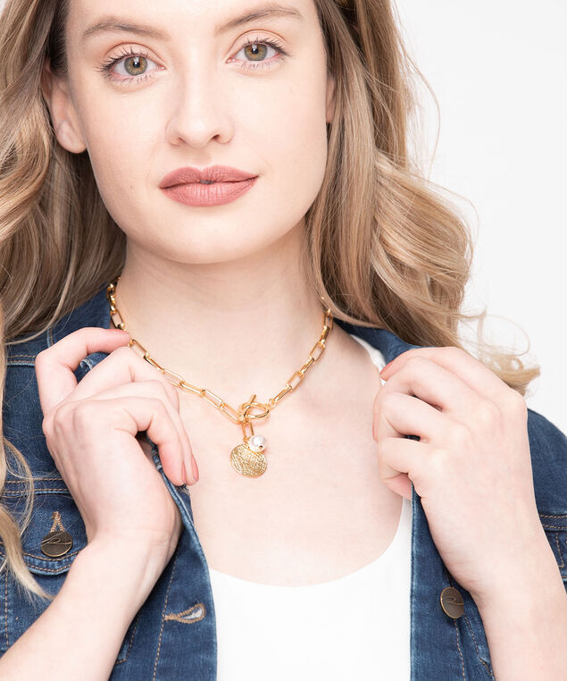 Metal Chain Link Charm Necklace, Gold/Pearl