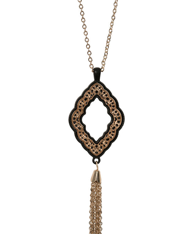 Medallion Tassel Pendant Necklace, Black/Soft Gold, hi-res