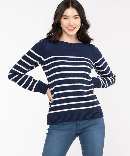 Striped Boat Neck Sweater, Navy/White, hi-res