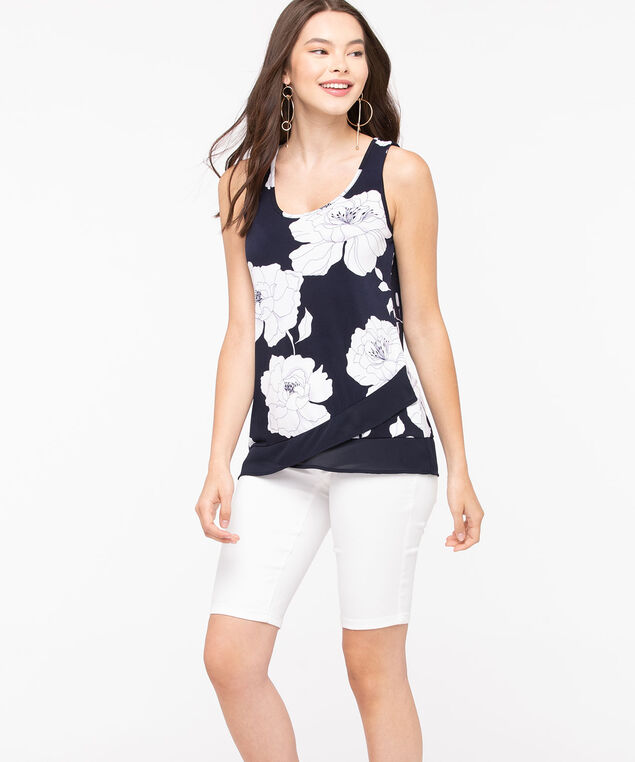 Sleeveless Chiffon Trim Top, Black/Pearl/Lilac, hi-res