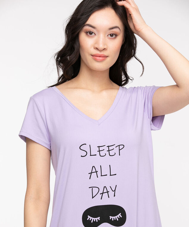 V-Neck Graphic Nightdress, Purple Sleep All Day