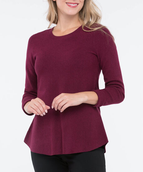 Long Sleeve Scoop Neck Sweater, Burgundy, hi-res
