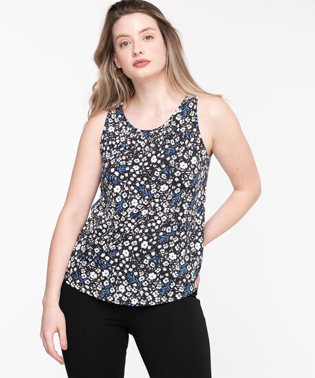 Floral Sleeveless Gathered Neck Top, Floral, hi-res