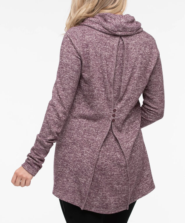 Cowl Neck Button Back Pullover, Plum, hi-res