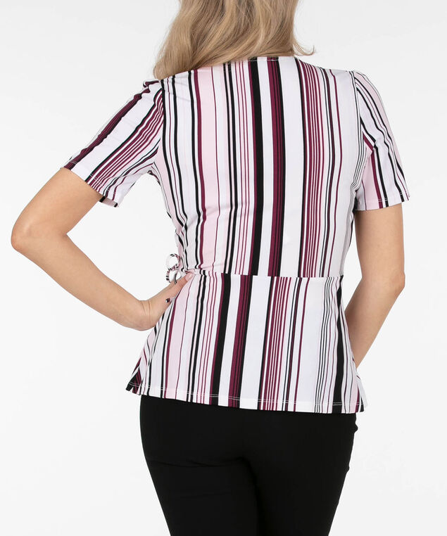 Striped Wrap Peplum Top, Cameo Pink/Black/Black Cherry, hi-res