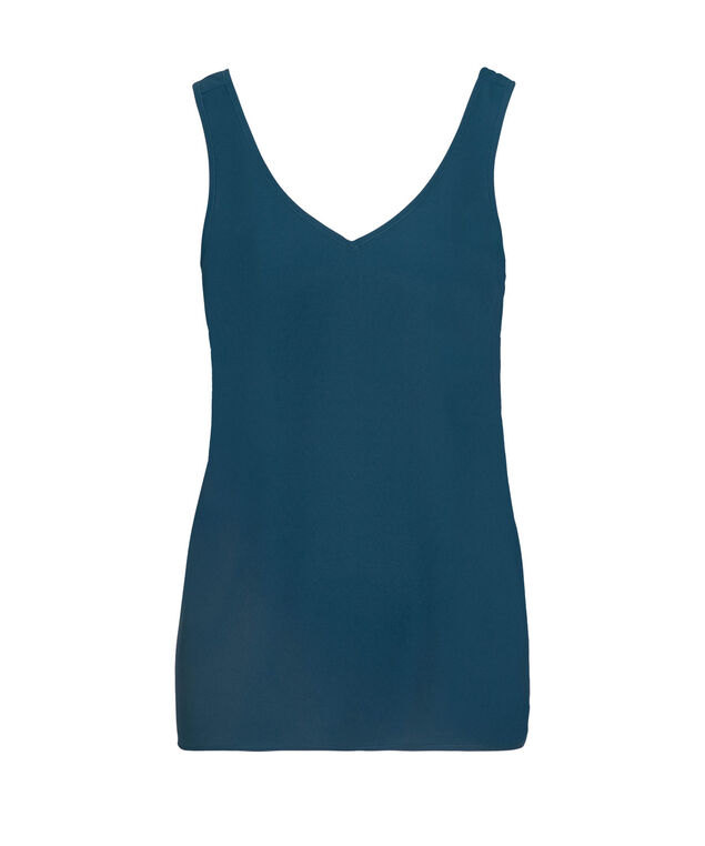 Double-V Woven Layering Cami, Midnight Teal, hi-res