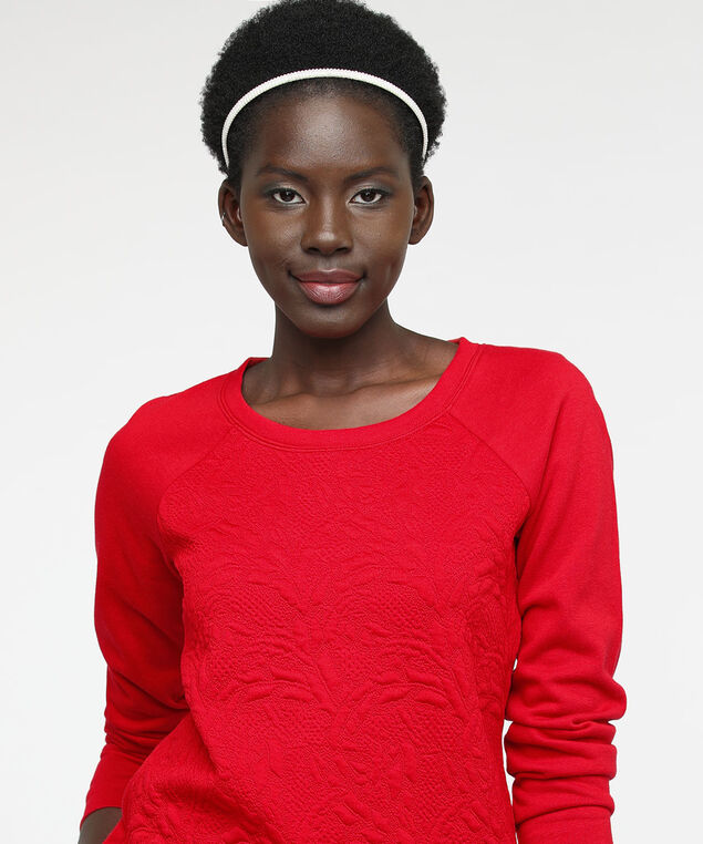 Long Sleeve Textured Front Sweatshirt, Hibiscus, hi-res