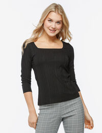 3/4 Sleeve Square Neck Top