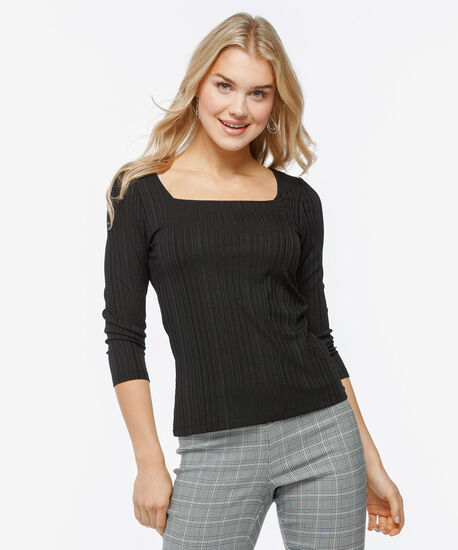 3/4 Sleeve Square Neck Top, Black, hi-res