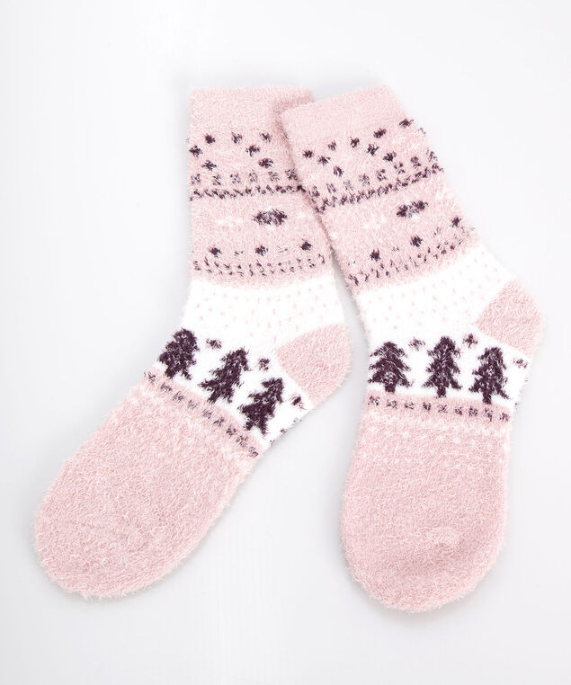 Fairisle Plush Socks, Dusty Blush/Berry/Pearl, hi-res
