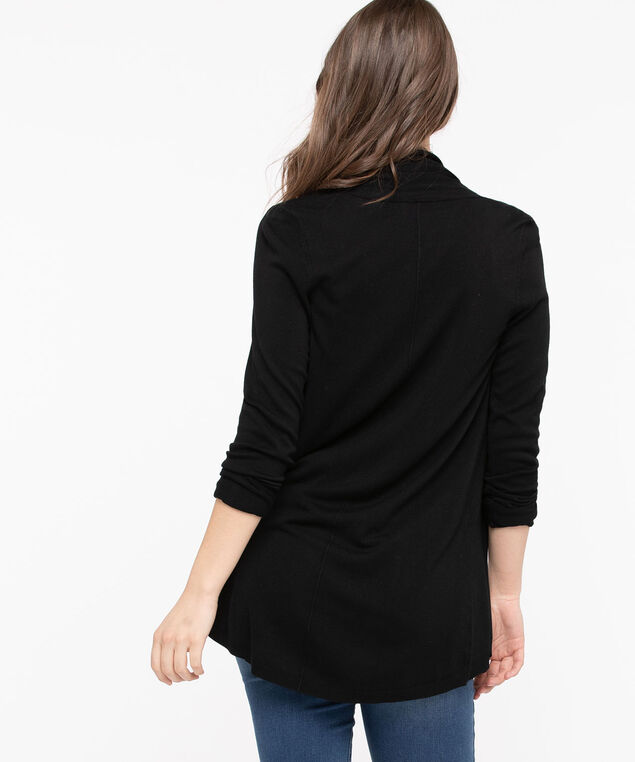 Long Curved Hem Open Cardigan, Black, hi-res
