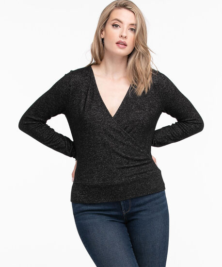 Long Sleeve Banded Wrap Top, Charcoal, hi-res