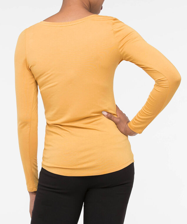 Boatneck Essential Layering Top, Mustard, hi-res