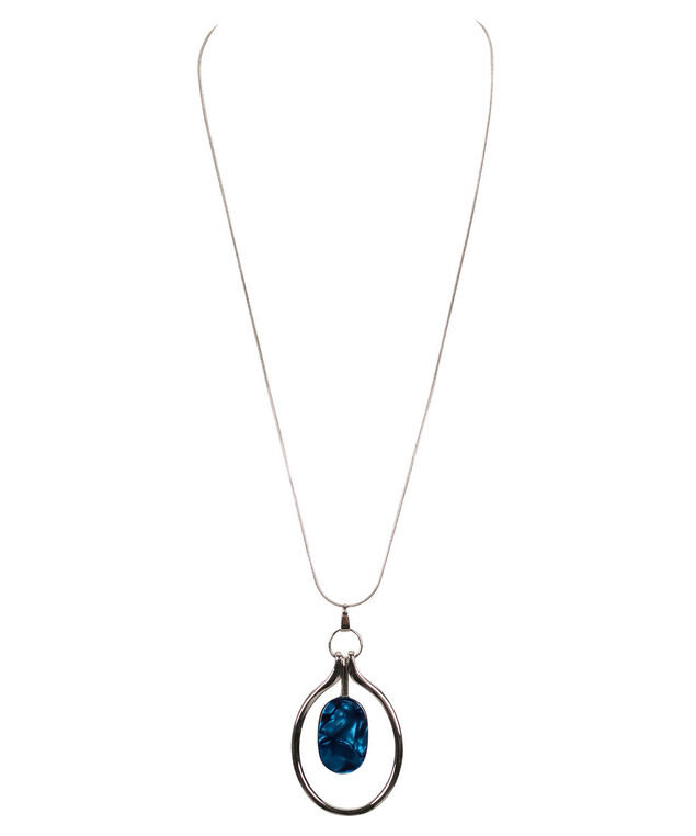 Stone & Hoop Pendant Necklace, Mid Blue/Rhodium, hi-res