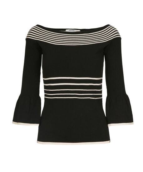 Striped Boat Neck Pullover, Black Milkshake Stripe, hi-res